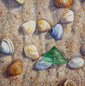 Washed Ashore/North Sea Beach V, oil on panel, 15 x 15 cm (2014) - Sold