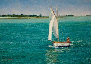Alla Laguna/Venetian Blues & Emeralds, oil on linen 50 x 70 cm (2007) - Sold
