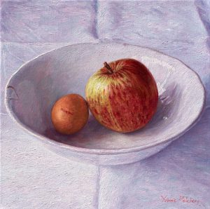 Apple and Egg, oil on canvas, 30 x 30 cm (2013) - Sold