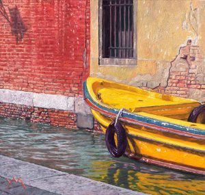 Reflections/Autumn in Venice (2014), oil on panel 22 x 23 cm - Euro 1095 (a digitized version is going to the Moon in 2021!)