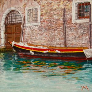 Reflections IV/Summer in Venice, oil on pane 20 x 20 cm - Euro 1095 (a digitized version is going to the Moon in 2021!)