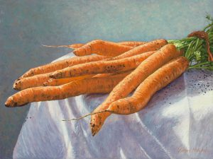 Bunch of Carrots on white linen cloth (2012), oil on linen, 30 x 40 cm - Sold
