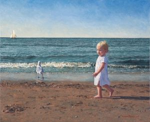Britt in Noordwijk/North Sea Blues (2005) (by commission), oil on linen, 50 x 66 cm - Sold