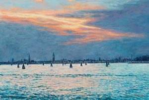 A sunset/Summer in Venice, acrylics on panel 20 x 30 cm (2009) - In a private collection