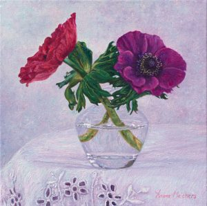 Glass with red and purple anemone, oil on canvas, 30 x 30 cm - Euro 1295