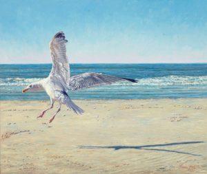 Happy Landing/North Sea Blues, oil on linen, 50 x 56 cm (2012) - Sold