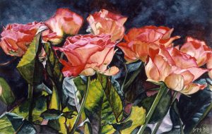 Harry's roses II (1998), watercolour 20 x 31 cm - (collection Yvonne Melchers)