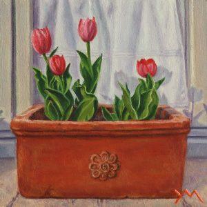 I Tulipani di Francesca (Francesca's Tulips), oil on panel 14 x 14 cm - Euro 495