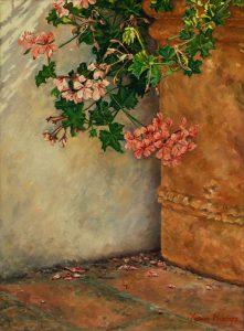 Francesca's Geraniums (2010), oil on linen 40x30 cm (2010) - Sold