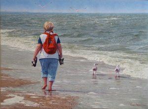 Anneke in Wassenaar/North Sea Blues, oil on Belgian linen 55x75cm (2020, by commission) - Sold