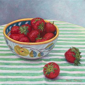 Italian bowl with Spanisch strawberries, oil on canvas, 30 x 30 cm (2012) - Sold