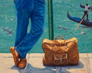 La Borsa del Cavaliere/Blues in Venice, oil on linen, 40 x 50 cm (currently available online at Artsy.net through 33Contemporary Gallery Chicago) - US$ 3500
