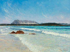 La Tavolara/Mediterranean Blues, acrylic on panel, 30 x 40 cm (2010) - sold