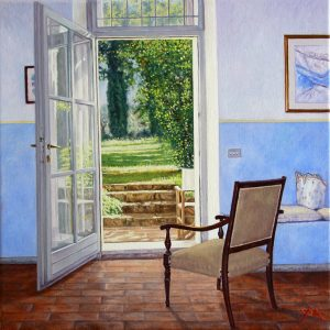 Room with a View/Summer in Pacina, oil on linen 40 x 40 cm - Euro 2450