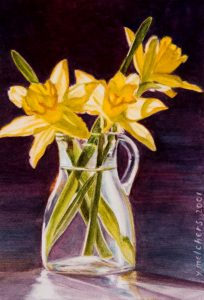 Daffodils for Anneke (2001), watercolour 20x14cm - In a private collection