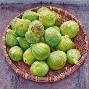 Round basket with fresh figs, oil on canvas, 30 x 30 (2012) - In a private collection