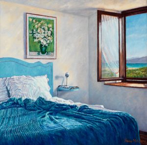Yvonne Melchers Room with a View/Spring in Sardinia, oil on linen, 40 x 40 cm (2012) - Sold