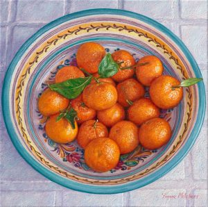 Spanish bowl with tangerines, oil on canvas, 30 x 30 cm (2013) - Sold