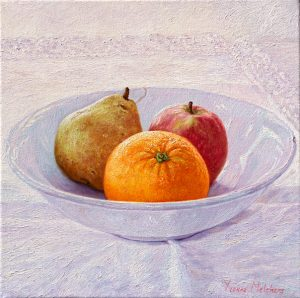 White bowl with apple pear and orange, oil on canvas, 30 x 30 cm (2013) - Sold