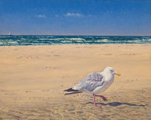 The Old Man and the Sea/North Sea Blues, oil on linen, 40 x 50 cm (2007) - Sold