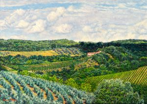 Val Cortese/Primavera Toscana (Tuscan Spring), oil on linen,50 x 70 cm. Available online at Abend Gallery Denver(CO) US$ 3550