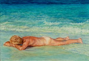 Washed Ashore III/Mexican Blues&Greens, watercolour 30x21cm (2004) - Sold