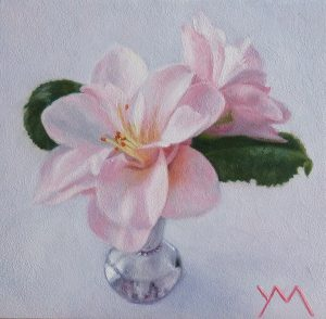 Camelias from my garden. Oil on panel 14 x 14 cm (2020) - Sold