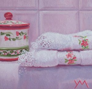 In my Bathroom, oil on panel 14 x 14 cm (2020) - Sold
