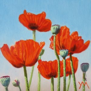 Yvonne Melchers, Spring Dance III, oil on panel 14 x 14 cm - Sold