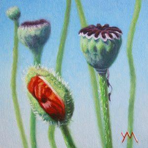 Yvonne Melchers, Spring Dance I, oil on panel 14 x 14 cm Euro 495