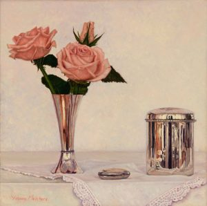 Silver with pink roses, oil on canvas, 30 x 30 cm - Euro 1495