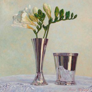 Silver with white freesias, oil on canvas, 30 x 30 cm - Euro 1495